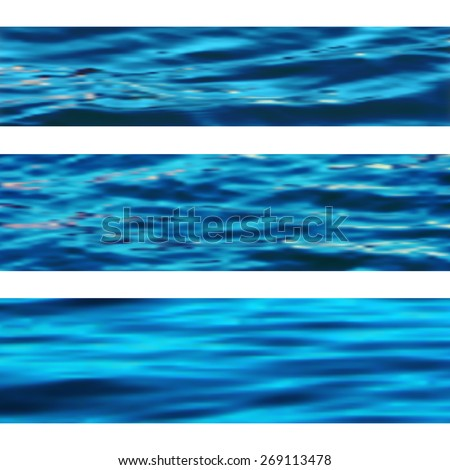 Sea water textures, vector set of wavy marine banners on white, blurred backdrops, website header templates - stock vector