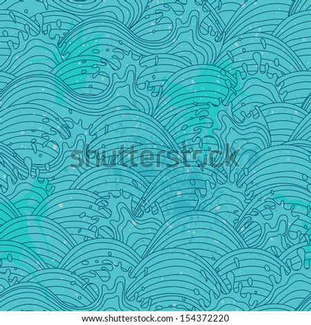 Sea wave background. Seamless pattern. Vector illustration. - stock vector