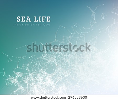 Sea wave by dot and line connection. Summer vector illustration - stock vector