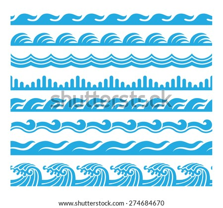 sea wave pattern set 3. horizontally seamless pattern for brush making. - stock vector