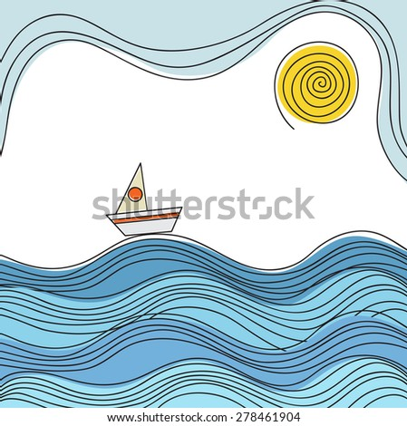 Sea wave texture with sailing boat with line decoration