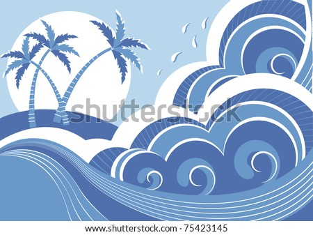 sea waves and island. Vector graphic illustration of water seascape - stock vector