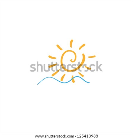 sea waves and rising sun - stock vector