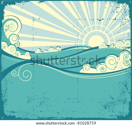 Sea waves background. Vintage illustration of sea landscape - stock vector