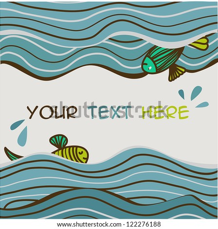sea waves background with fish and place for text