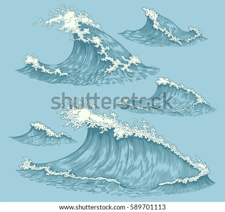 Sea waves. Design set. Hand drawn engraving. Vector vintage illustration. Isolated on color background. 8 EPS