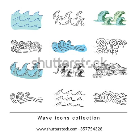 sea waves, illustration vector. - stock vector