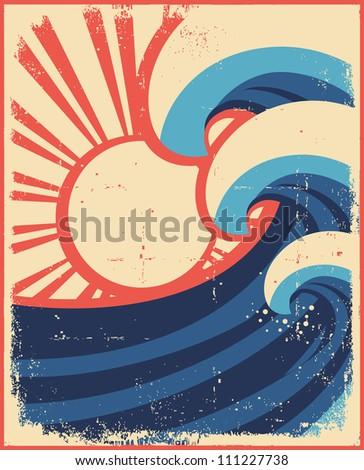 Sea waves poster.Grunge illustration of sea landscape on old paper. - stock vector