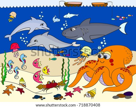 Seabed with marine animals. Vector for kids, cartoon. Fish, octopus, shark, dolphin, boat, fishing, starfish, fish moon crab cancer bottom seaweed waves and sea horse