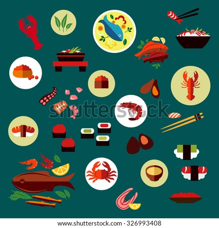 Seafood and delicatessen flat icons of sushi, caviar, crab, shrimp, lobsters, oysters, mussels, octopus, chopstick, salmon steak, grilled fishes and shrimp salad, fish soup, vegetables and herbs - stock vector