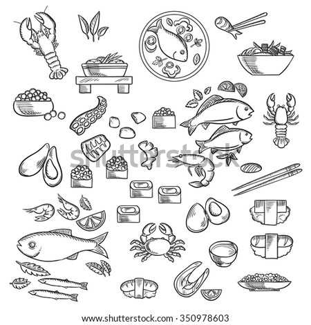 Seafood and delicatessen  icons of sushi, caviar, crab, shrimp, lobsters, oysters, mussels, octopus, chopstick, salmon steak, fish and shrimp, salad, fish soup, vegetables and herbs. Sketch style