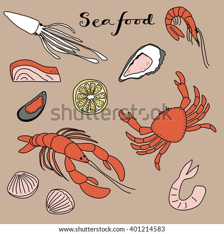 Seafood background doodle clip art icon illustration