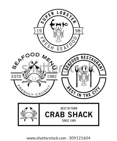 Seafood badge - stock vector