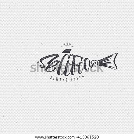 Seafood, badge for your design, Seafood Word for printing and labels.calligraphy seafood, seafood logo