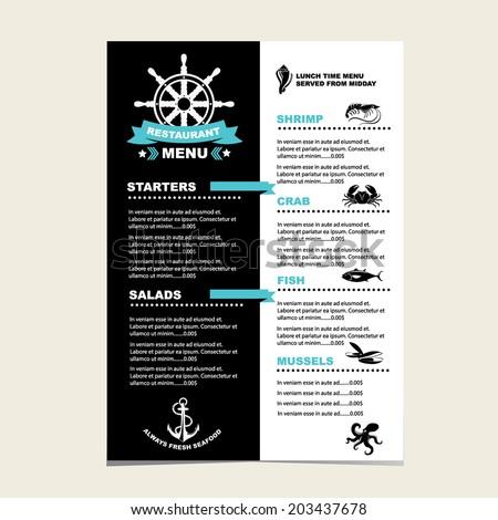 Seafood cafe menu grill, template design.Vector illustration. - stock vector
