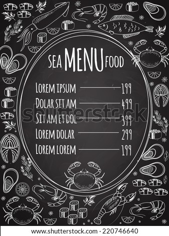 Seafood chalkboard menu with a central oval frame with a list of prices surrounded by white vector line drawings of fish  calamari  lobster  crab  sushi  shrimp  prawn  mussel  salmon steak and herbs - stock vector