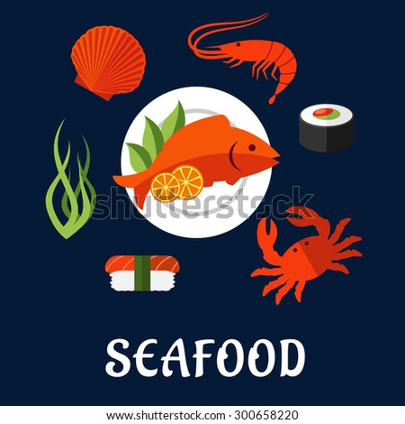 Seafood delicatessen icons in flat style with shrimp, sushi roll, crab, sushi nigiri, seaweed and shellfish, served on plate with lemon slices and salad leaves - stock vector