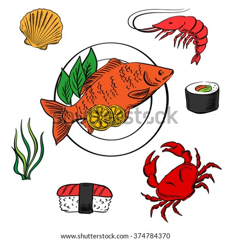 Seafood delicatessen icons with shrimp and sushi roll, crab, sushi nigiri, seaweed and shellfish, served on plate with lemon slices and salad - stock vector