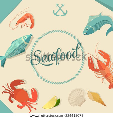 Seafood design set - stock vector