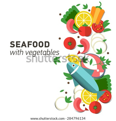 Seafood design set. Infographic food business seafood flat lay idea. Vector illustration hipster concept can be used for layout, advertising and web design. Seafood menu for restaurant. Background - stock vector
