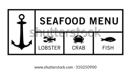 Seafood label badge - stock vector