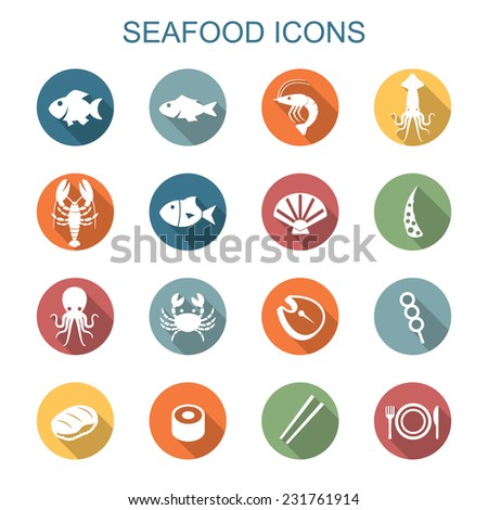 seafood long shadow icons, flat vector symbols - stock vector