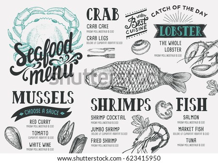 Seafood logo stock images royalty free images vectors for Fish and chip shop menu template