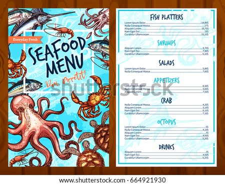 Seafood menu stock images royalty free images vectors for Fish stocking prices