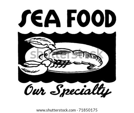 Seafood Our Specialty 2 - Retro Ad Art Banner