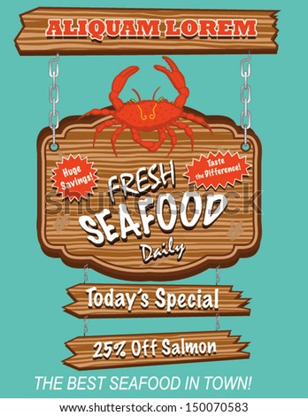 Seafood sign stock images royalty free images vectors for White river fish market menu