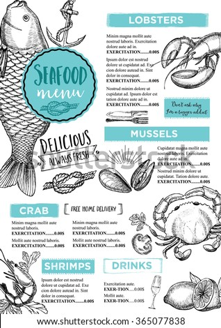 Seafood restaurant brochure, menu design. Vector cafe template with hand-drawn graphic. Food flyer. - stock vector