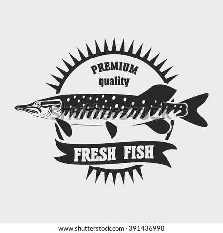 Seafood restaurant logo template. Fresh fish vector logo or label template - stock vector
