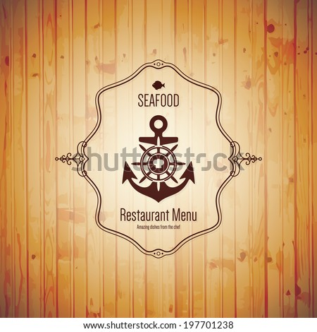 Seafood, restaurant menu design - stock vector
