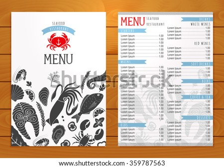 Seafood restaurant menu on wooden background. Vector template.
