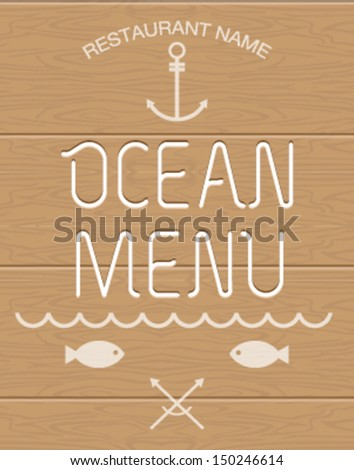 Seafood restaurant menu. Vector, EPS10. - stock vector
