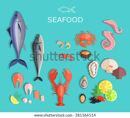 Seafood set design flat fish and crab. Seafood fish, seafood platter, lobster and crab, food oyster, fresh seafood, shrimp and menu seafood, octopus animal, shellfish lemon, fresh seafood illustration