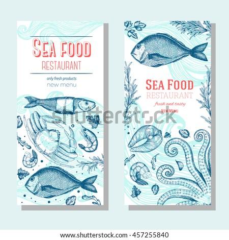 Seafood vintage design template, banners set. Seafood vector illustration hand drawn linear art. Restaurant menu.