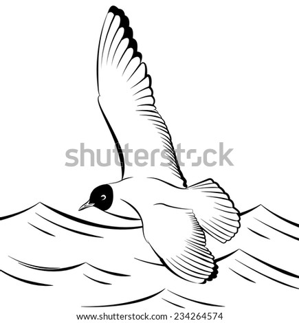 Seagull flying over the sea vector illustration - stock vector