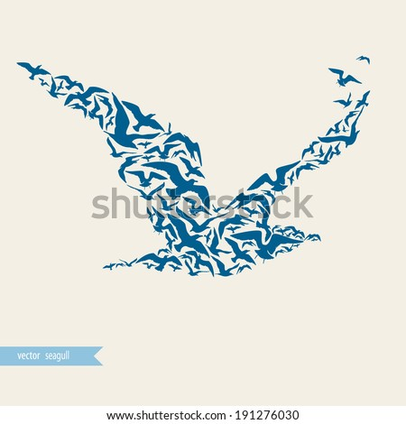 Seagull made of seagulls - stock vector