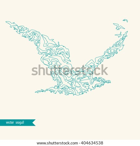 Seagull made of seagulls. Silhouette. - stock vector