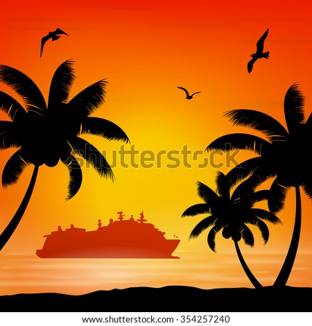 seagull orange seaside sunrise Palm Beach and ship cruise liner - stock vector
