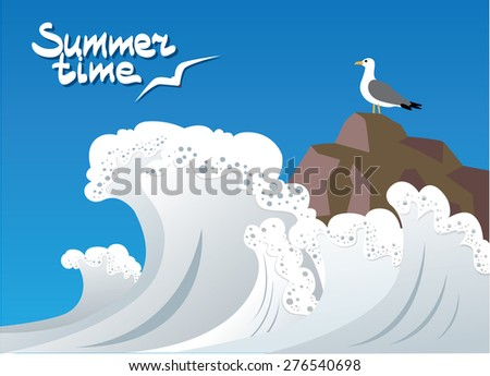 seagull sitting on a rock on which the waves beat
