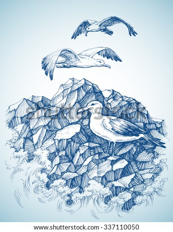 Seagulls over rocky sea shore etch, label design - stock vector