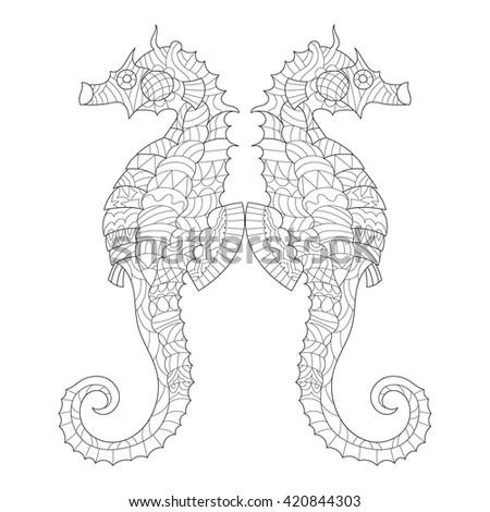 Seahorse Coloring Adults Antistress Stock Vector 420844303 ...
