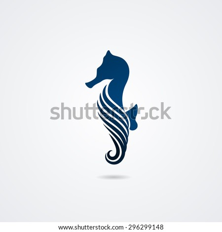 Seahorse isolated on white background. Vector illustration - stock vector