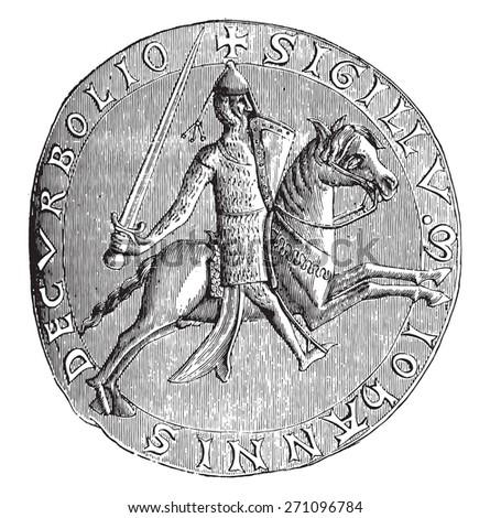 Seal of John, Lord of Corbeil, 1196 (National Archives), vintage engraved illustration. Industrial encyclopedia E.-O. Lami - 1875. - stock vector