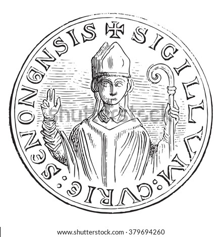 Seal of officialdom direction. The figure of the archbishop seen from the front wearing the pallium, vintage engraved illustration. Magasin Pittoresque 1880.