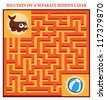 Seal's Maze Game (help seal find his ball- Maze puzzle with solution) - stock vector