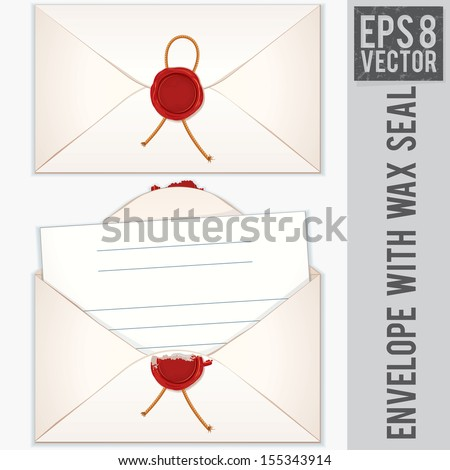 Sealed and Opened Envelope with Blank Letter. Vector Ready for Your Text and Design.