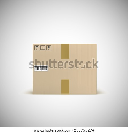 Sealed cardboard box with barcode tape and traffic signs. Front view. Realistic illustration. - stock vector